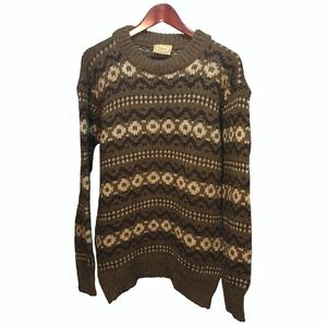 Gaeltarra Brown Wool Hand-knit Sweater Men Size XL